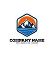 logo design mountains rivers and sun logo template vector image vector image