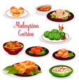malaysian cuisine restaurant dinner icon design vector image vector image