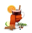 Mulled wine and scarf vector image vector image