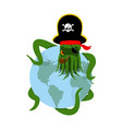 octopus pirate and earth poulpe buccaneer and vector image vector image