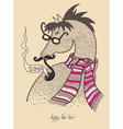 original hipster horse in glasses mustache smoking vector image