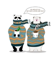 pandabear wearing scarf and pullover vector image vector image