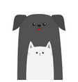 pet shop icon dog cat animal red tongue happy vector image vector image