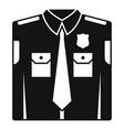 police uniform icon simple style vector image