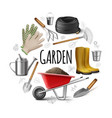 realistic garden round concept vector image vector image