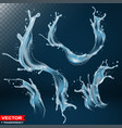 realistic water splash bursts and wave vector image vector image