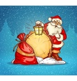 Santa laus with lantern and vector image