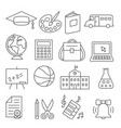 school and education line icons on white vector image vector image