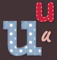 set stitched font - letter u vector image vector image