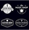 set vintage logo badge emblem for music shop vector image vector image