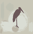 stork silhouette on grunge background vector image vector image