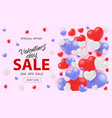 valentine day sale web banner with white red and vector image vector image