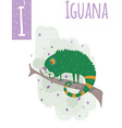 vertical of iguana with colorful background vector image vector image