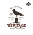 Vintage hand drawn label design Seagull symbol vector image vector image