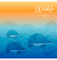wildlife day card of turtles swimming underwater vector image