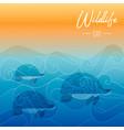 wildlife day card turtles swimming underwater vector image vector image