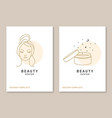 woman face and cosmetic cream for logo label vector image