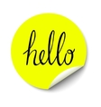 yellow circle sticker with curled corner vector image vector image