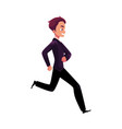 happy businessman in business suit running vector image