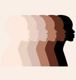 african women profile silhouettes skin colors vector image