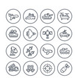 army military line icons set on white vector image vector image