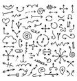 big set black hand drawn arrows vector image