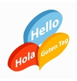 Bubble speeches with greetings inside icon vector image