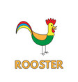 cartoon rooster flashcard for children vector image