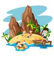 children on summer island vector image