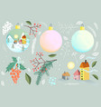 christmas or new year decoration objects balls fir vector image vector image