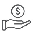 coin in hand line icon e commerce and marketing vector image vector image
