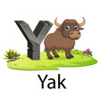 cute ancient animals alphabet y for yak vector image