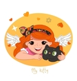 Cute redhead girl and her kitty vector image