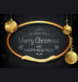 dark christmas greeting card and golden decoration vector image