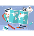 Desk with trip planning and calculation of costs vector image