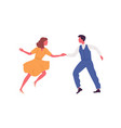 faceless pair dancing lindy hop in 1950s style vector image vector image