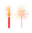 fireworks and sparkler isolated icons vector image