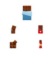 flat icon sweet set of cocoa chocolate bitter vector image vector image