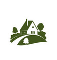 green house icon with garden tree plant and lawn vector image vector image