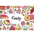 hand drawn colored sweets horizontal vector image