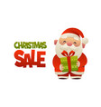 happy cute cartoon santa claus with gift present vector image