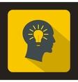 Head light bulb idea icon flat style vector image