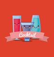 kawaii cocktails design vector image vector image
