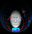 man in smart helmet head up display wearable vector image