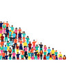 mixed people group on isolated background vector image vector image