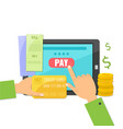 mobile payment concept paying bills online vector image