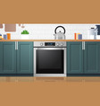 modern kitchen interior with new oven home vector image vector image