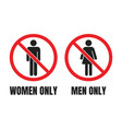 no men or no women signs men only and women only vector image vector image
