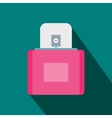 Pink female perfume flacon with sprayer icon vector image