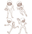 Plain sketches of the American football players